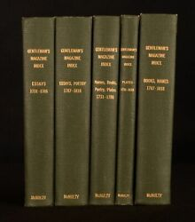 1818-21 5vol General Index To The Fifty-six Volumes Of The Gentlemanand039s Magazine