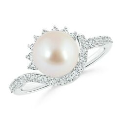 8mm Japanese Akoya Pearl Bypass Ring With Diamonds In Silver/gold