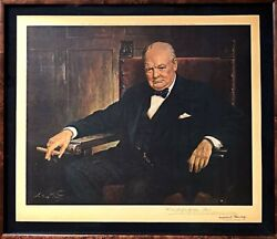 Framed Signed Reproduction Of Winston Churchill Of Portrait By Arthur Pan 1943