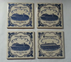 Holland America Westerdam Ships Collection Set Of 4 Coasters Porcelain Cork