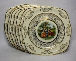 Taylor Smith Taylor China Courting Colonial Couple Set 7 Square Dessert Plates