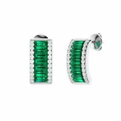 Certified 1.84 Ct Natural Emerald And Diamond Half Hoop Earring In 14k Solid Gold