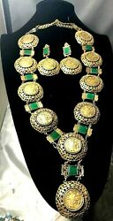 Joseff Of Hollywood Rare Necklace And Earrings Asian Motif Faux Chrysoprase Long