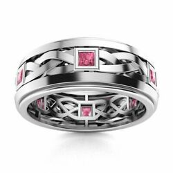 Certified 14k White Gold 0.4ct Tourmaline Mens Celtic Knot Wedding Band Ring