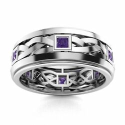 Certified 14k White Gold 0.40 Ct Aaa Amethyst Mens Celtic Knot Wedding Ring