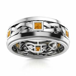 Certified 14k White Gold 0.40 Ct Aaa Citrine Mens Celtic Knot Wedding Ring