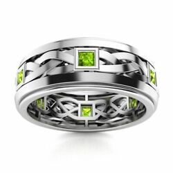 Certified 14k White Gold 0.40 Ct Aaa Peridot Mens Celtic Knot Wedding Ring