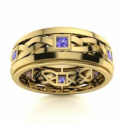 Certified 14k Yellow Gold 0.40ct Aaa Tanzanite Men's Celtic Knot Band Ring