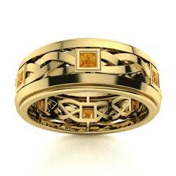 Certified 14k Yellow Gold 0.40 Ct Citrine Mens Celtic Knot Wedding Band Ring
