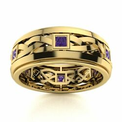 Certified 14k Yellow Gold 0.40 Ct Natural Aaa Amethyst Mens Celtic Knot Ring