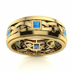Certified 14k Yellow Gold 0.4 Ct Blue Topaz Mens Celtic Knot Wedding Ring