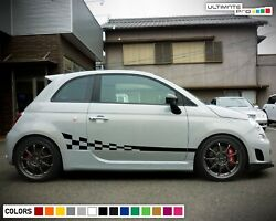 Stickers Decal For Fiat 500 Abarth Stripes Lip Side Carbon Wavy Flag Tune Racing