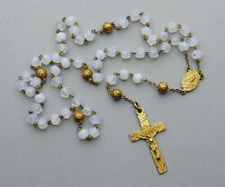 French, Antique Religious Rosary. Moonstone. Saint Therese, Crucifix. Cross.