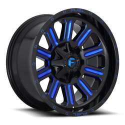 4 20x10 Fuel Gloss Black And Blue Hardline Wheels 6x135 6x139.7 For Toyota Jeep