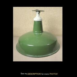Antique 16dia Industrial Green Enamel Gas Station Barn Light Shade With Fitter