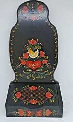 Vintage Wood 15 Wall Recipe Box Black Tole Hand Painted