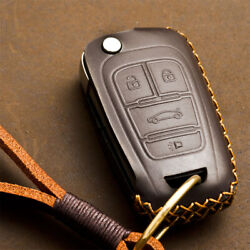 Genuine Leather Car Romote Key Case Cover With Key Chain For Buick Chevrolet Gmc