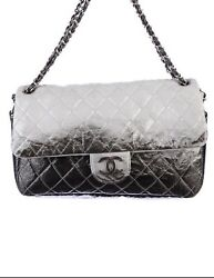 CHANEL Grey Black Silver Ombre Melrose Degrade JUMBO Flap Shoulder Bag AUTHENTIC