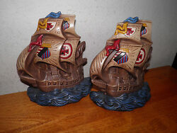 2 Vintage Atlantic Mold Sailing Ship Handpainted Nautical Bookends Wall Plaques