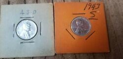 1943 S And D Steel Wheat Cent / Penny Set 2 Coins Uncirculated Free Shipping