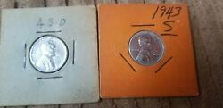 1943 S And D Steel Wheat Cent / Penny Set 2 Coins Uncirculated Free Shippingandnbsp