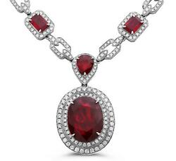 Extra Large 33.85ct Diamond And Aaa Ruby 18kt White Gold 3d Multi Shape Necklace
