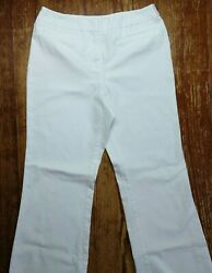 New York And Company Womenand039s White Cotton Blend Career Work Brunch Pants Size 10