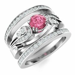 Natural Diamond And Pink Sapphire Vintage Wedding Engagement Ring 14k White Gold