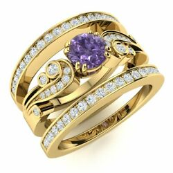 Natural Diamond And Iolite Vintage Wedding Engagement Ring Set In 14k Yellow Gold