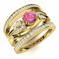 Natural Diamond And Pink Sapphire Vintage Wedding Engagement Ring 14k Yellow Gold