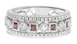 .73ct Diamond And Aaa Ruby 14kt White Gold 3d Round And Princess Anniversary Ring