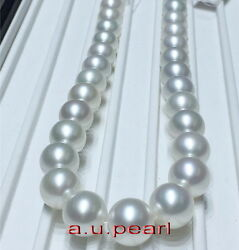 Top Luster 1713-14mm Round Real Natural South Sea White Pearl Necklace 14k Gold
