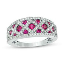 2.04ct Natural Round Diamond Ruby 14k Solid White Gold Band Ring Size 7