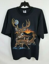 Vintage Stand Out Designs Deer Graphic T Shirt Sz XXL USA Made White Tail EUC