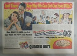 Quaker Cereal Ad Quaker Cuts Food Bills From 1948 Size 11 X 15 Inches