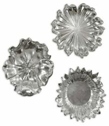 Three Xxl 17 Silver Plated Gray Wash Flower Wall Sculptures Or Decorative Bowls