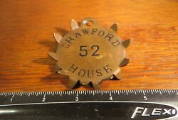 Rare Antique Late 1800's Crawford House Hotel Brass Starburst Room Key Fob/tag