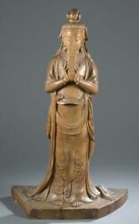 A Large Chinese Wood Fairy Statue. Carved Wooden Standing Fairy
