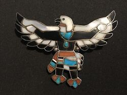Antique Zuni Sterling Inlaid Native American Eagle - Turquoise, Mop, Tortoise