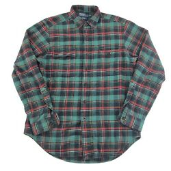 Polo Mens Plaid Flannel Shirt Whitfield Classic Fit Size Medium