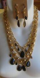 Vintage Multiple Layer Black Faceted Stone Chain Necklace And Matching Earrings