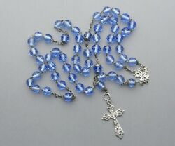 French, Gorgeous Antique Large Rosary. Silver And Glass Bead. Crucifix Rosarie