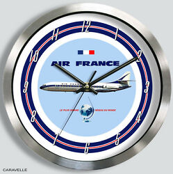 Air France Sud Aviation Caravelle Iii Wall Clock 1960s Metal