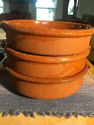 Marked Idc Set Of 3 Pottery Bowls Red Unique Collectible 8andrdquo Diameter