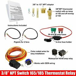 Electric Cooling Fan Wiring Install Switch Dual 3/8npt 165/185 Thermostat Relay