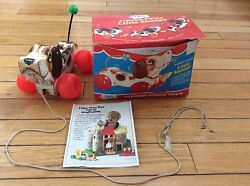 Vintage 693 Fisher Price Little Snoopy Wood Pull Toy Puppy Dog With Box 1960's