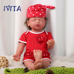 Ivita 22'' Silicone Reborn Doll Root Hair Baby With Skeleton Flexible Girl Dolls