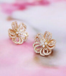 2.71ct Natural Round Diamond 14k Solid Yellow Gold Screw Back Stud Earring