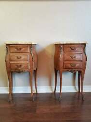 French Louis XV Bombe Marquetry Ormolu Mounted Bedside Cabinet End Table - Pair