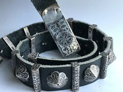 Antique Persian 1896 Imperial Russian 84 Silver Niello Enamel Belt, Buckle, Sign